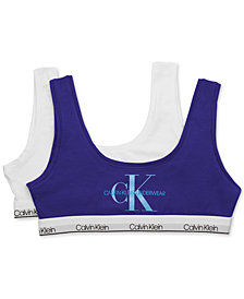 Calvin Klein Little & Big Girls 2-Pk. Logo-Print Bralettes