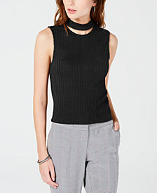 XOXO Juniors' Gigi Choker Knit Crop Top
