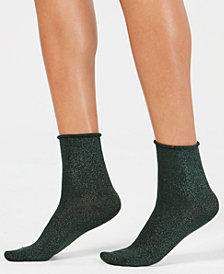 HUE® Metallic Roll-Top Shortie Socks