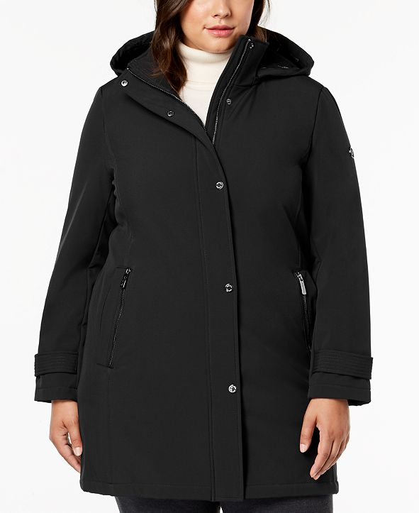 Calvin Klein Plus Size Water Resistant Hooded Raincoat
