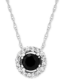 "Diamond Halo 18"" Pendant Necklace (1 ct. t.w.) in 14k White Gold, Created for Macy's"