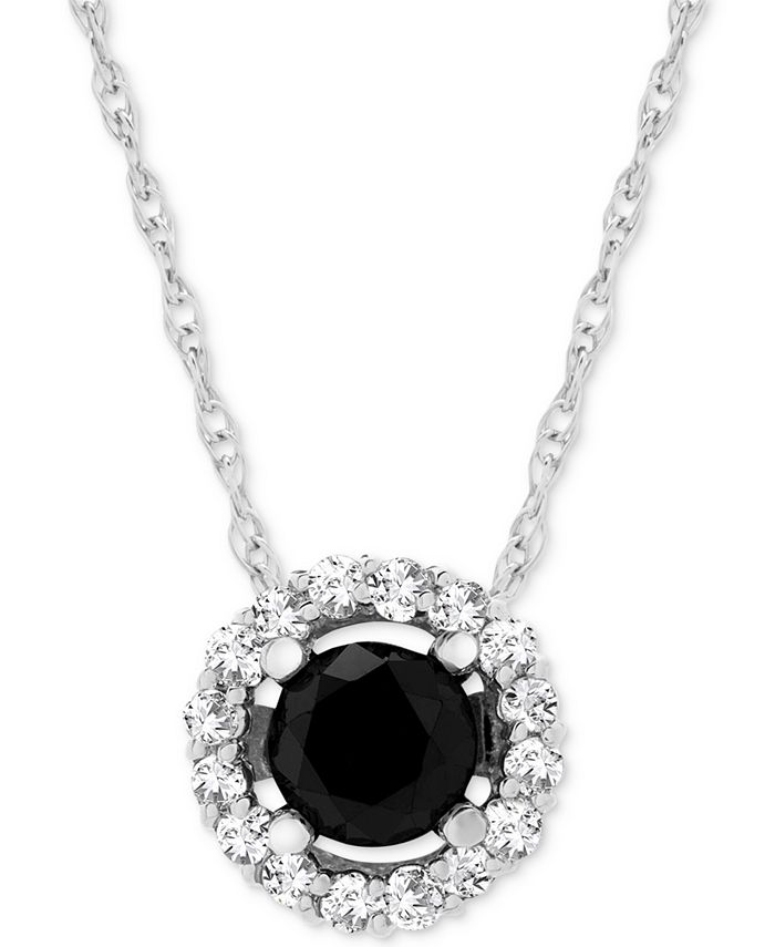 """Wrapped in Love - Diamond Halo 18"""" Pendant Necklace (1 ct. t.w.) in 14k White Gold"""