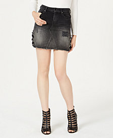 GUESS Punk Metallic Denim Mini Skirt