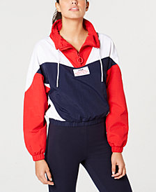 Fila Colorblocked Cropped Quarter-Zip Top