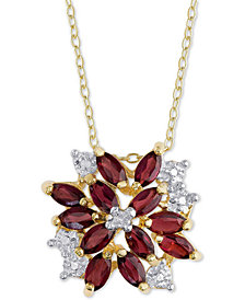 "Rhodolite Garnet (1-1/10 ct. t.w.) & Diamond Accent 18"" Pendant Necklace in 18k Gold-Plated Sterling Silver"
