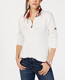 Tommy Hilfiger Long-Sleeve Striped Collar Top, Created for Macy's