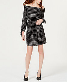 Maison Jules Off-The-Shoulder Dot-Print Dress, Created for Macy's