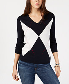 Tommy Hilfiger Cotton Argyle-Fragment Sweater, Created for Macy's