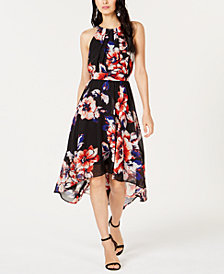 I.N.C. Petite Floral-Print Handkerchief-Hem Dress, Created for Macy's