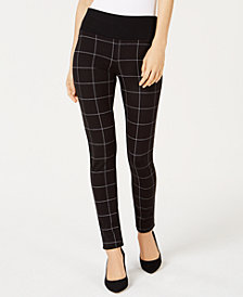 I.N.C. Windowpane-Print Pull-On Pants, Created for Macy's