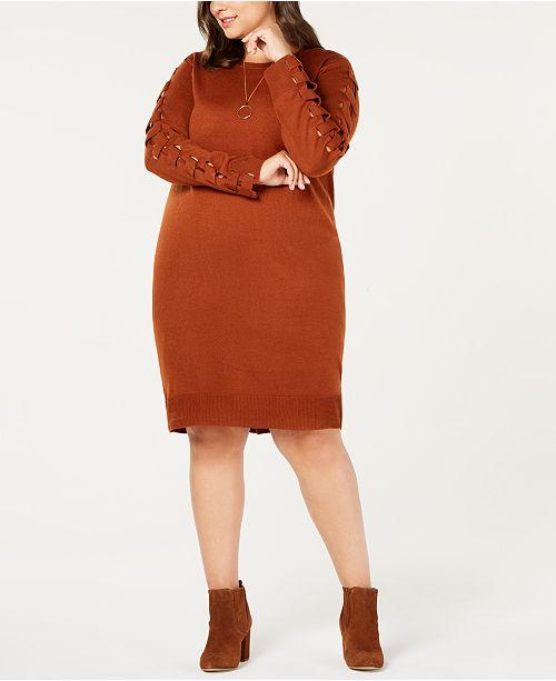 Love Scarlett Plus Size Lace Up Sleeve Sweater Dress Dresses