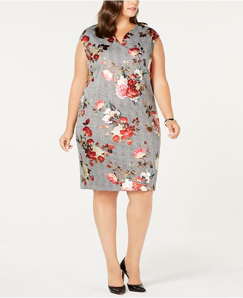 ECI Plus Size Foil-Print Shift Dress
