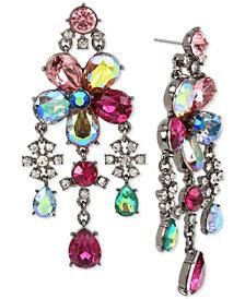 Betsey Johnson Hematite-Tone Multi-Stone Flower Chandelier Earrings