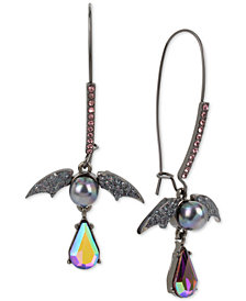 Betsey Johnson Hematite-Tone Crystal & Bead Bat Drop Earrings