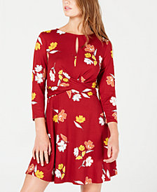 As U Wish Juniors' Printed Twist-Front Dress