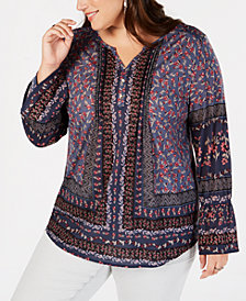 Style & Co Plus Size Mixed-Print Lantern-Sleeve Top, Created for Macy's