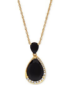 "Onyx (7 x 5mm & 14 x 10mm) & White Topaz (1/4 ct. t.w.) 18"" Pendant Necklace in 14k Gold-Plated Sterling Silver"