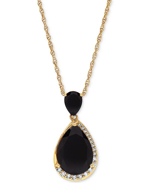 """Macy's Onyx (7 x 5mm & 14 x 10mm) & White Topaz (1/4 ct. t.w.) 18"""" Pendant Necklace in 14k Gold-Plated Sterling Silver"""