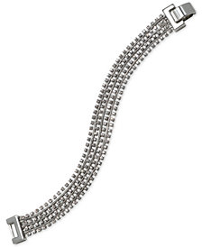Jewel Badgley Mischka Silver-Tone Crystal Multi-Row Flex Bracelet