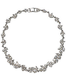 "Jewel Badgley Mischka Silver-Tone Crystal Leaf 16"" Collar Necklace"