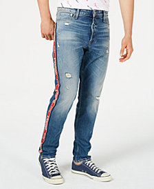 Jack & Jones Men's Originals Slim-straight Fit Logo Side Stripe Ripped Jeans