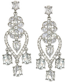 Jewel Badgley Mischka Silver-Tone Crystal Chandelier Earrings