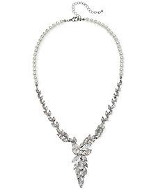 "Jewel Badgley Mischka Silver-Tone Crystal & Imitation Pearl Asymmetrical Statement Necklace, 19-1/2"" + 3"" extender"