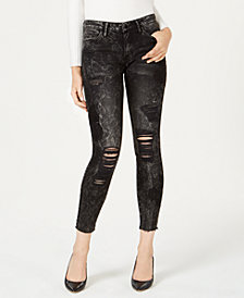 GUESS Sexy Curve Ripped Embroidered Skinny Jeans