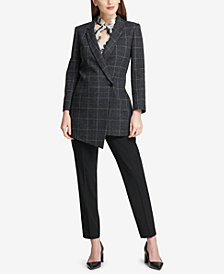 DKNY Asymmetrical Blazer, Tie-Neck Shell & Skinny Pants, Created for Macy's