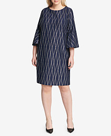 Jessica Howard Plus Size Bell-Sleeve Metallic Dress