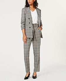Bar III Plaid Blazer, V-Neck Top & Self-Tie Pants, Created for Macy's