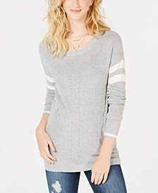 Hippie Rose Juniors' Scoop-Neck Varsity-Stripe Sweater