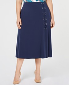JM Collection Plus Size Lace-Up A-Line Skirt, Created for Macy's