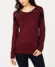 INC Lace-Up Scoop-Neck Top, Created for Macy's
