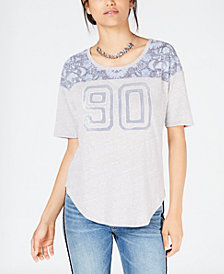 Lucky Brand Floral-Print Varsity T-Shirt
