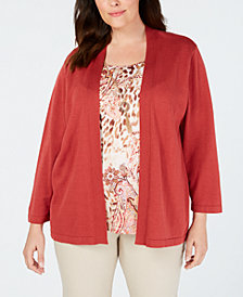 Alfred Dunner Plus Size Sunset Canyon Layered-Look Necklace Top
