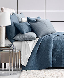 Hotel Collection Cascade 300-Thread Count Blue Quilted Full/Queen Coverlet, Created for Macy's