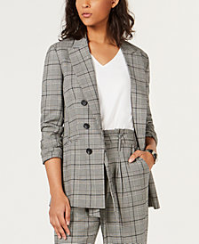 Bar III Plaid Faux-Double-Breasted Jacket, Created for Macy's