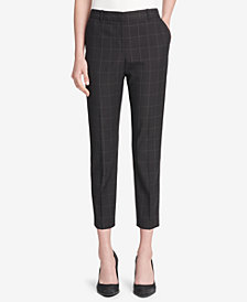 DKNY Windowpane-Print Skinny Ankle Pants, Created for Macy's