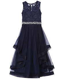 Speechless Big Girls Plus Embellished Glitter Lace Maxi Dress