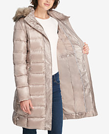 DKNY Faux-Fur-Trim Belted Puffer Coat, Created for Macy's