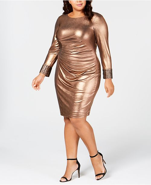 Calvin Klein Plus Size Metallic Bodycon Dress & Reviews ...