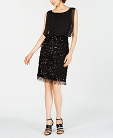 Calvin Klein Embellished Fringe Sheath Dress