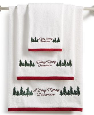 CLOSEOUT! Very Merry Embroidered Cotton Bath Towel, Created for Macy's