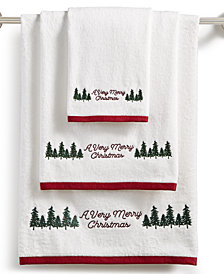 Martha Stewart Collection Very Merry Embroidered Cotton Towel Collection, Created for Macy's