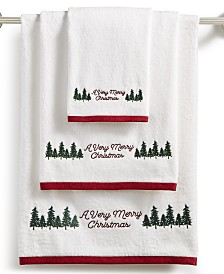 CLOSEOUT! Martha Stewart Collection Very Merry Embroidered Cotton Towel Collection, Created for Macy's