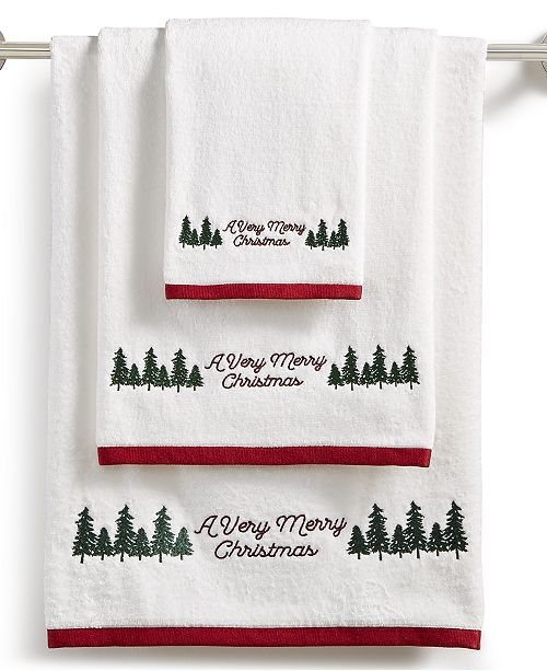 Martha Stewart Collection CLOSEOUT! Very Merry Embroidered Cotton Towel Collection, Created for Macy's