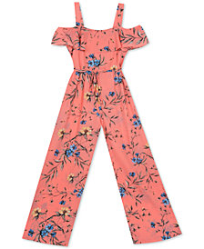 Rare Editions Big Girls Floral-Print Jumpsuit