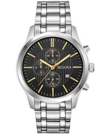 Bulova Men's Chronograph Stainless Steel Bracelet Watch 43mm, Created for Macy's