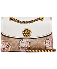 COACH Signature Rose Print Parker Medium Shoulder Bag